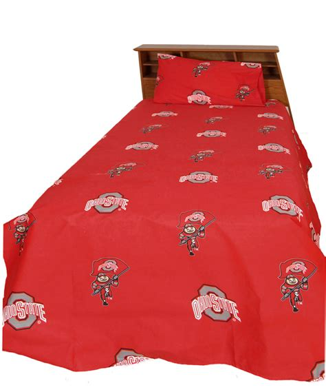 ohio state bed set ncaa ohio state bed sheet set red buckeyes cotton bedding accessories