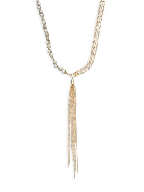 Anting Tassel Chain Pearl lyst sequin faux pearl chain tassel necklace in metallic