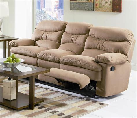 light brown microfiber modern reclining sofa