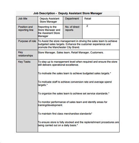 description template uk 11 store manager description templates free sle