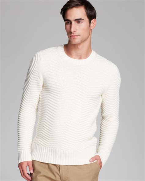 lyst kent curwen herringbone crewneck sweater in white