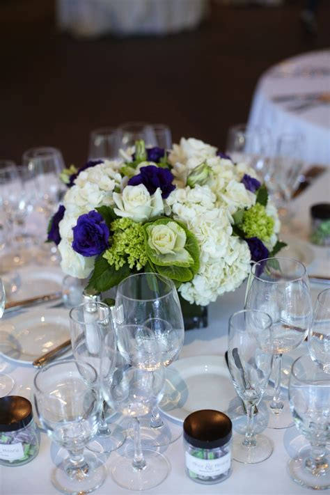 White Purple And Green Low Centerpieces Weddingbee Low Wedding Centerpieces