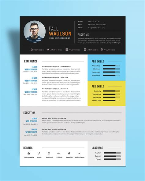 Modern Resume free modern resume template for web graphic designer psd