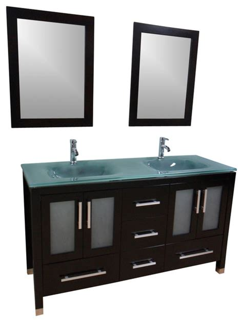 Green Glass Vanity by 60 Quot Sink Bathroom Vanity Frosted Green Glass