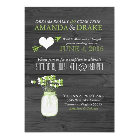 invitation wedding reception only wedding reception only jar rustic invitation 5 quot x 7