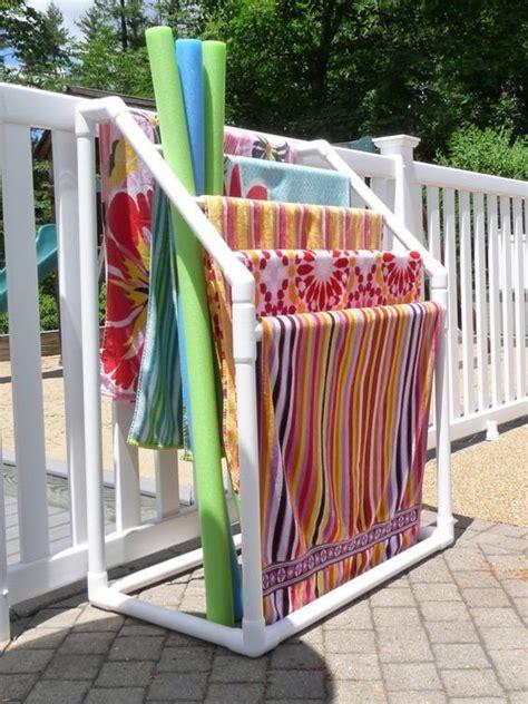Pvc Pipe Towel Drying Rack by Best Towel Rack Pool Ideas On