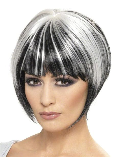 gray hair streaked bith black black bob with gray streak short black hair styles with