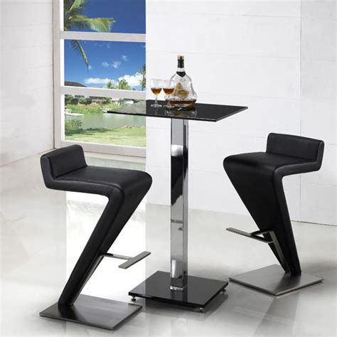 Glass Breakfast Bar Table Breakfast Bar Table In Black Glass With 2 Stools Bar Table And Chairs Furnitureinfashion Uk