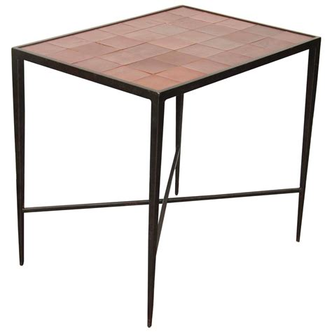 Iron Side Table Wrought Iron Side Table With Inset Leather Top At 1stdibs