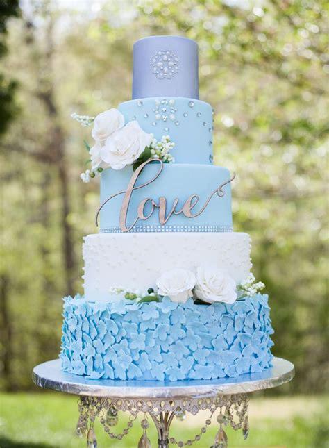 Wedding Cake Lights by Light Blue And Gold Wedding Cake Www Imgkid The