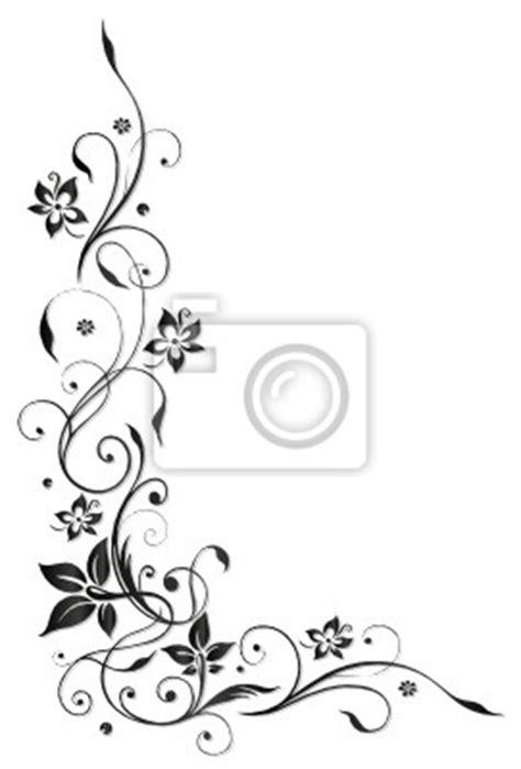 Blumenmuster Vorlagen Sticker Ranke Flora Blume Bl 252 Te Border Frame Black Stil Wandtatoo Aufkleber Pixers De