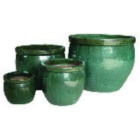 glazed ceramic pots set of 4 glazed green ceramic flower pots the home