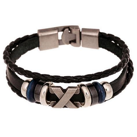 handmade multilayer braided leather bracelet wristband for