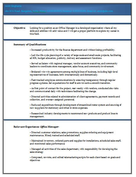 Resume Format Experienced Doc 10000 Cv And Resume Sles With Free Experienced Resume Format Doc