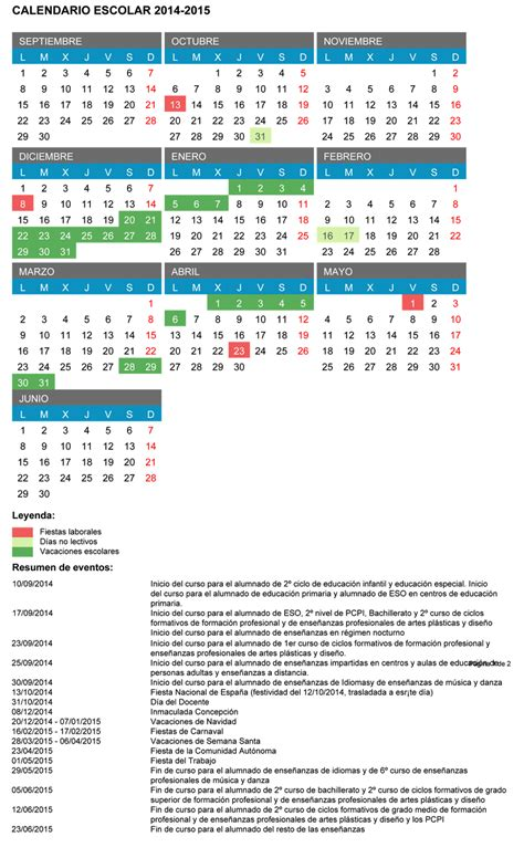 Calendario De Machado A Quot El Morco Quot Calendario Escolar 2014 2015