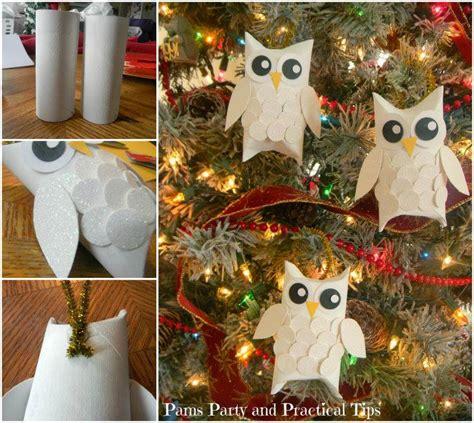 wonderful diy snowy owl ornaments  paper rolls