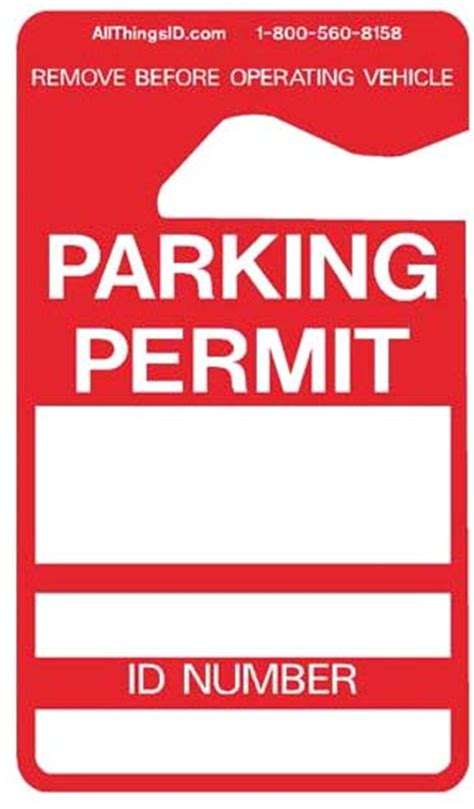 parking permit hang tag plastic rear view mirror hangers