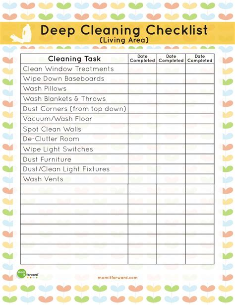 Printable Living Area Deep Cleaning Checklist Mom It | printable living area deep cleaning checklist mom it