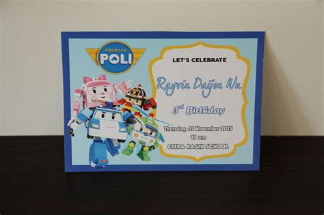 Undangan Invitation Ulang Tahun Birthday Shopskin jual undangan robocar poli ultah birthday invitation
