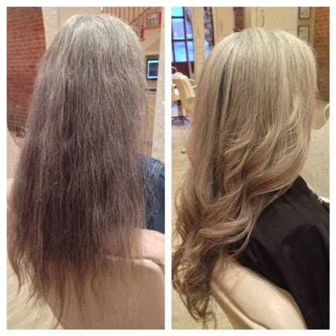 what shade of blonde blends with gray roots best highlights to cover gray hair