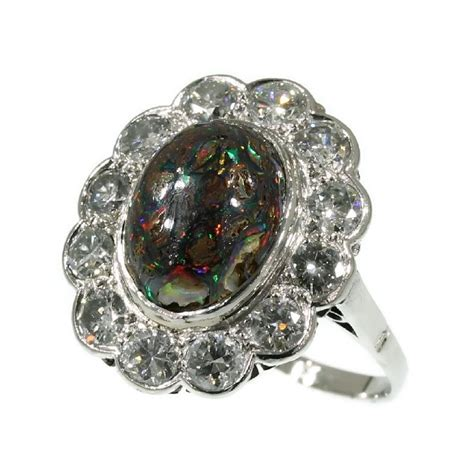 black opal ring vintage engagement ring by