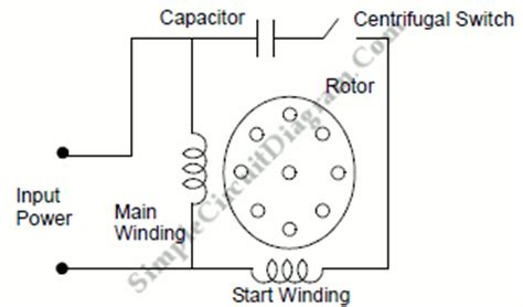 capacitor start motor circuit diagram capacitor start ac induction motor simple circuit diagram