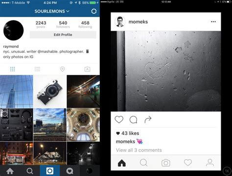 Layout Instagram Ios | instagram is testing a redesigned simpler design for the