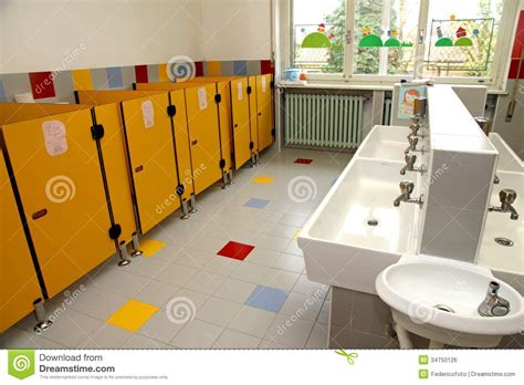 Daycare Bathroom Design by The Children S Bathrooms Of A Kindergarten Stock Photo