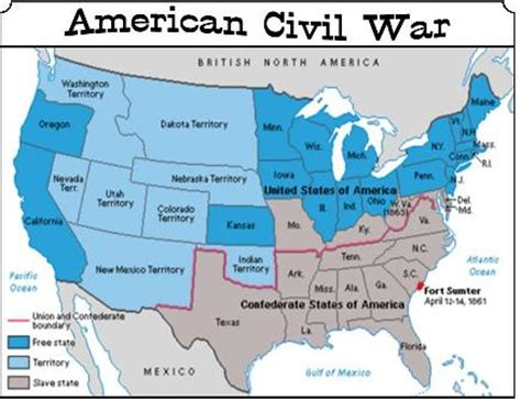 civil war states map civil war union states map