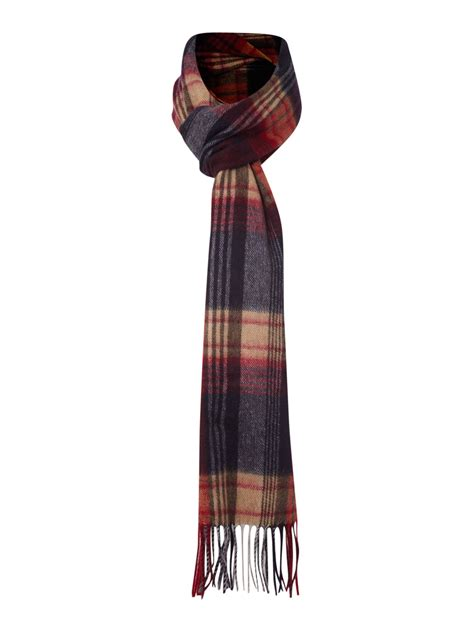 barbour traditional check scarf in blue for lyst