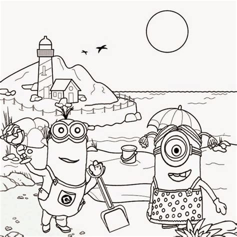 girl minion coloring page free clipart drawing for teens seaside holiday fun