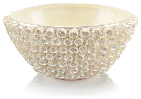Decorative Bowl by Vayle Coastal White Pearlescent Ceramic Decorative