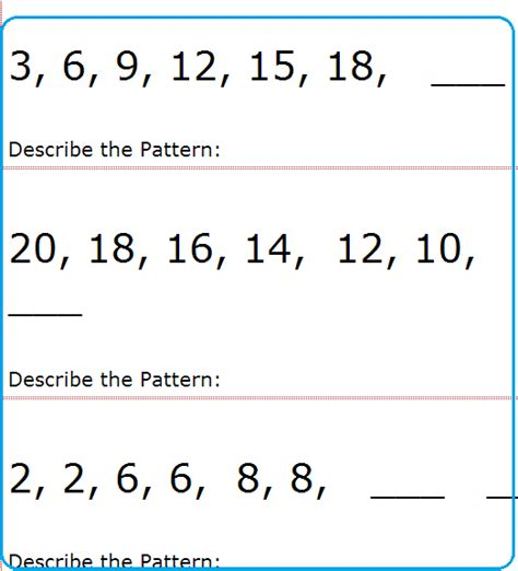 numbers pattern recognition pattern worksheets 187 pattern worksheets high school