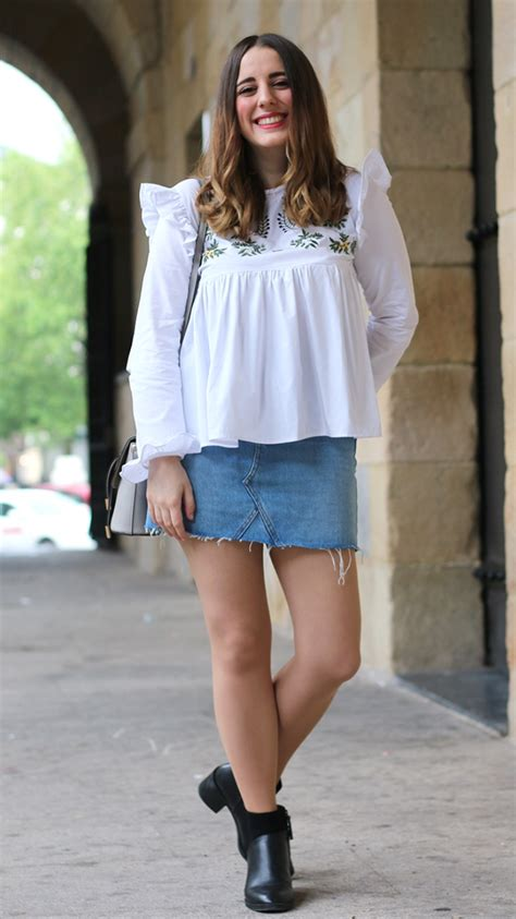 plain with denim skirt fashion tights