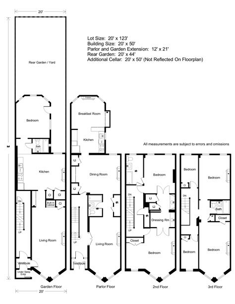 new york brownstone floor plans brownstone floorplan architecture pinterest