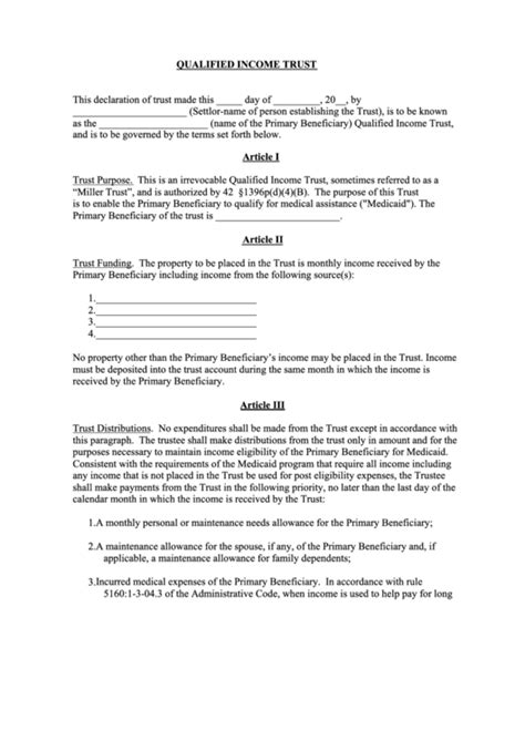 Qualified Income Trust Declaration Form Printable Pdf Download Miller Trust Template