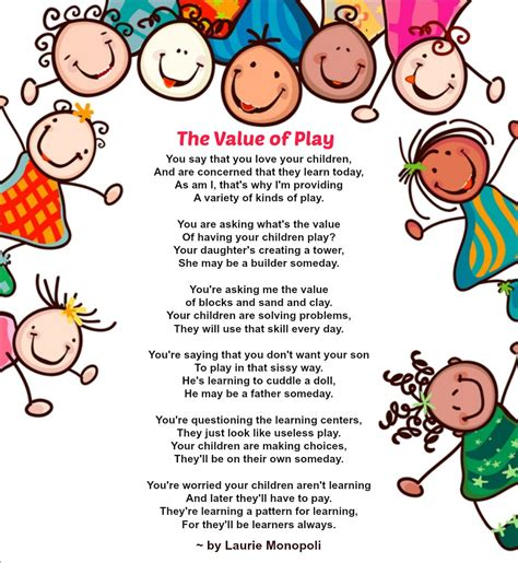 child poem the value of play a special poem that highlights the