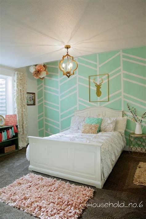 gold walls bedroom little girls mint and gold bedroom harringbone wall kids