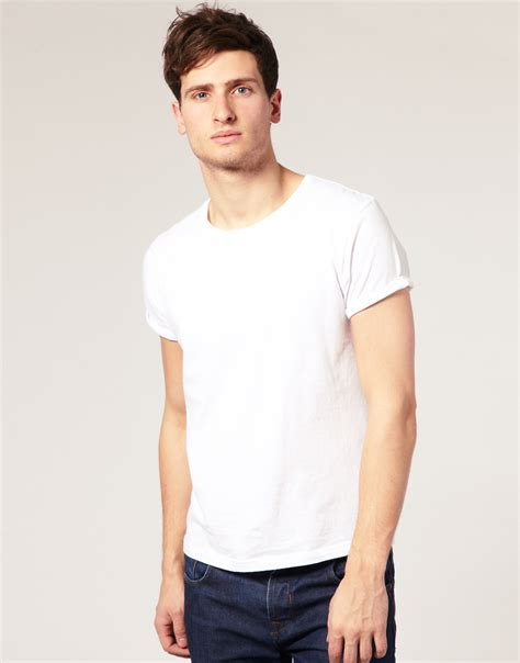 Tshirt Rolling asos crew neck t shirt with roll up sleeves in white for lyst