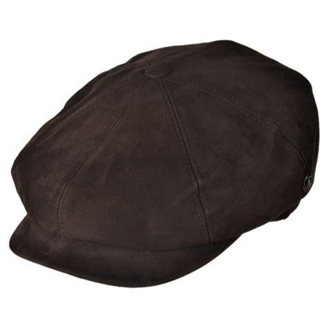 L Caps by City Sport Caps Matte Nappa Leather Newsboy Cap Flat Caps