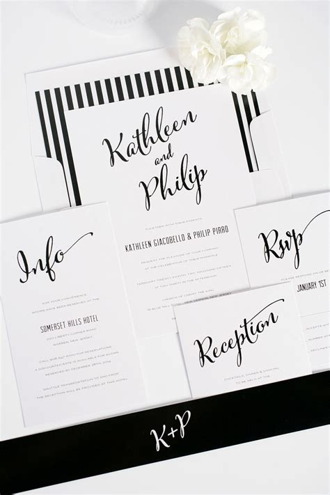 modern calligraphy wedding invitations in black and white wedding invitations