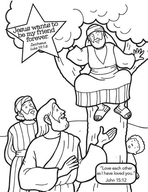 jesus and zacchaeus coloring page az coloring pages