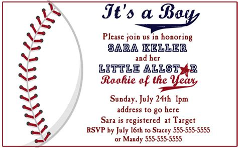 Baseball Baby Shower Invitation Templates items similar to baseball baby shower invites on etsy