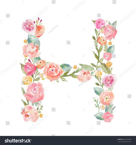 watercolor floral monogram letter h on stock illustration