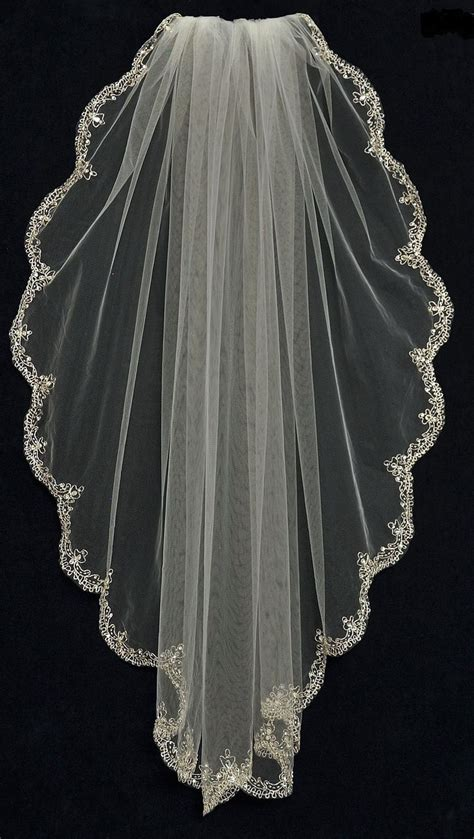 Wedding Hair Fingertip Veil by Fingertip Wedding Veil With Rhinestone Beaded Silver