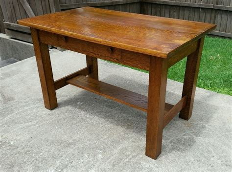 antique oak library table antique vtg tiger oak deco mission arts and craft
