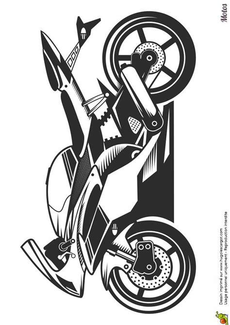 Image à colorier d'une moto sportive   voiture et moto