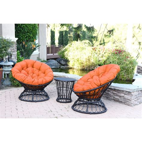 orange patio papasan espresso wicker swivel chair and table set with