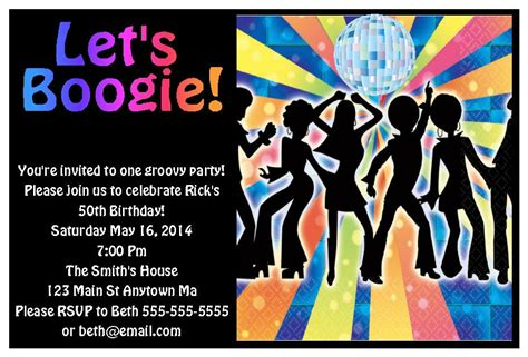 70s Party Invitations | 70s disco dance adult kid teen digital birthday party