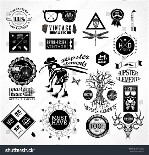 hipster style elements icons and labels stock vector hipster label icon elements set vintage stock vector